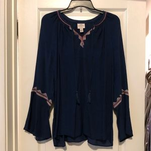 Navy peasant top with pink and white detail